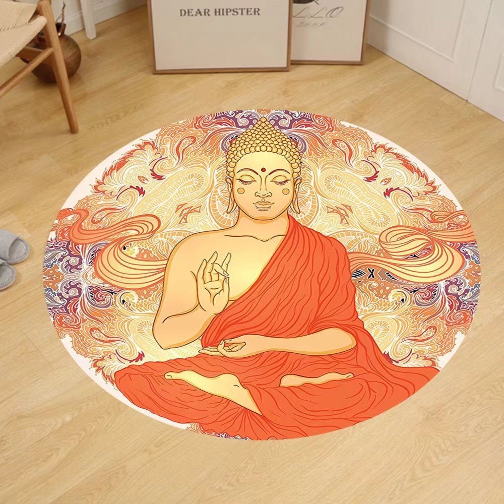 Gzhihine Custom round floor mat Asian Yoga Decor Meditation Aura Thai Temple Ornamental Motive Spiritual Design Print Bedroom Living Kids Girls Boys Room Dorm Orange Purple by Gzhihine