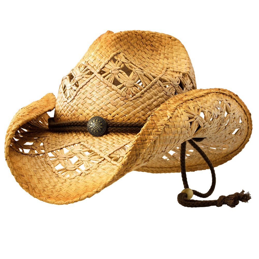 Sonoma (Small) - Deadwood Trading | Natural Raffia Straw Cowboy Hats for Men & Women | Hit the Beach In Cowgirl Style | Cute Summer Hat with Shapeable Brim, Cotton Band, Concho & Adjustable Chin Strap