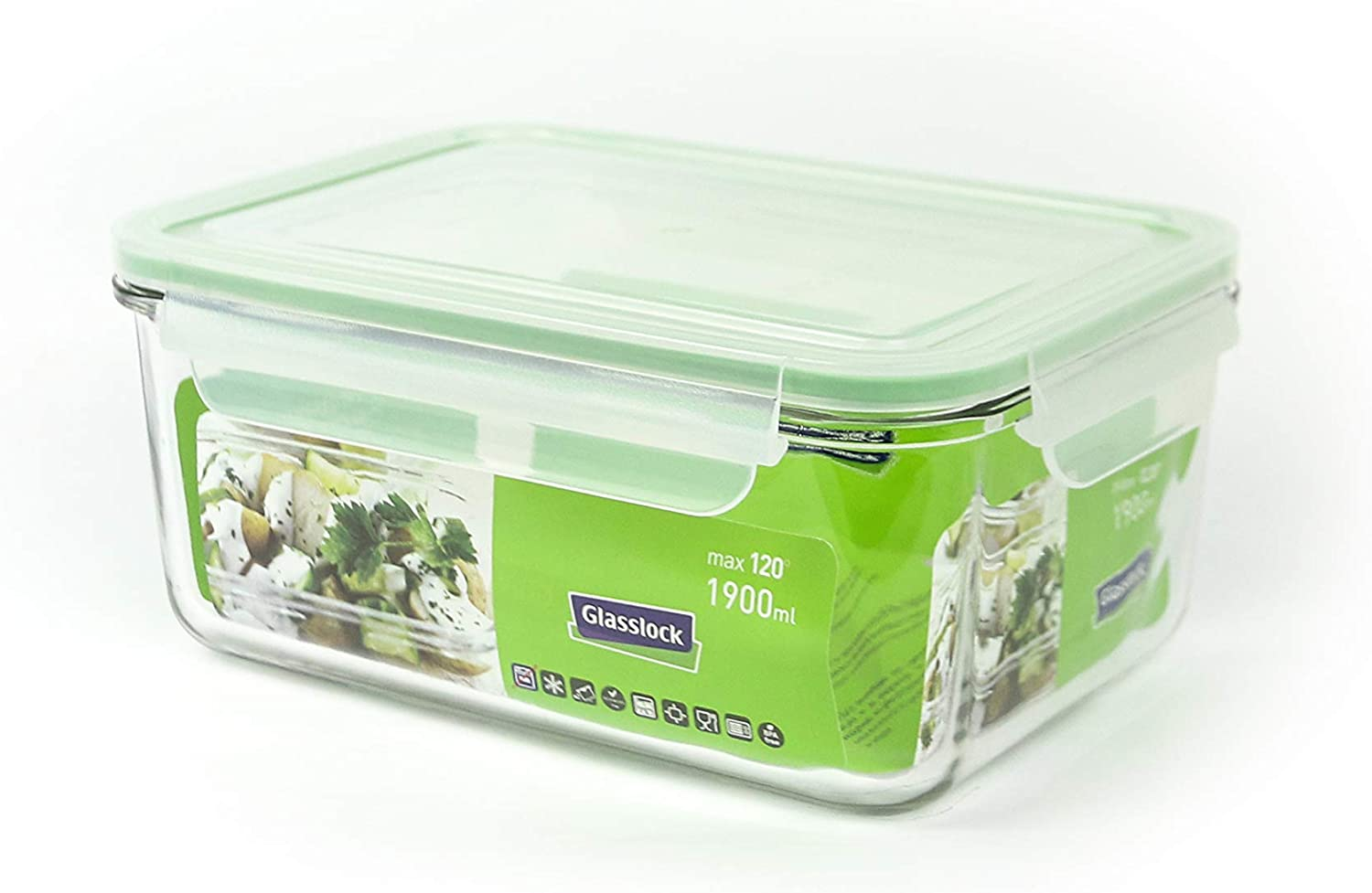 Glasslock Food Storage Container- 8 Cup-rect.