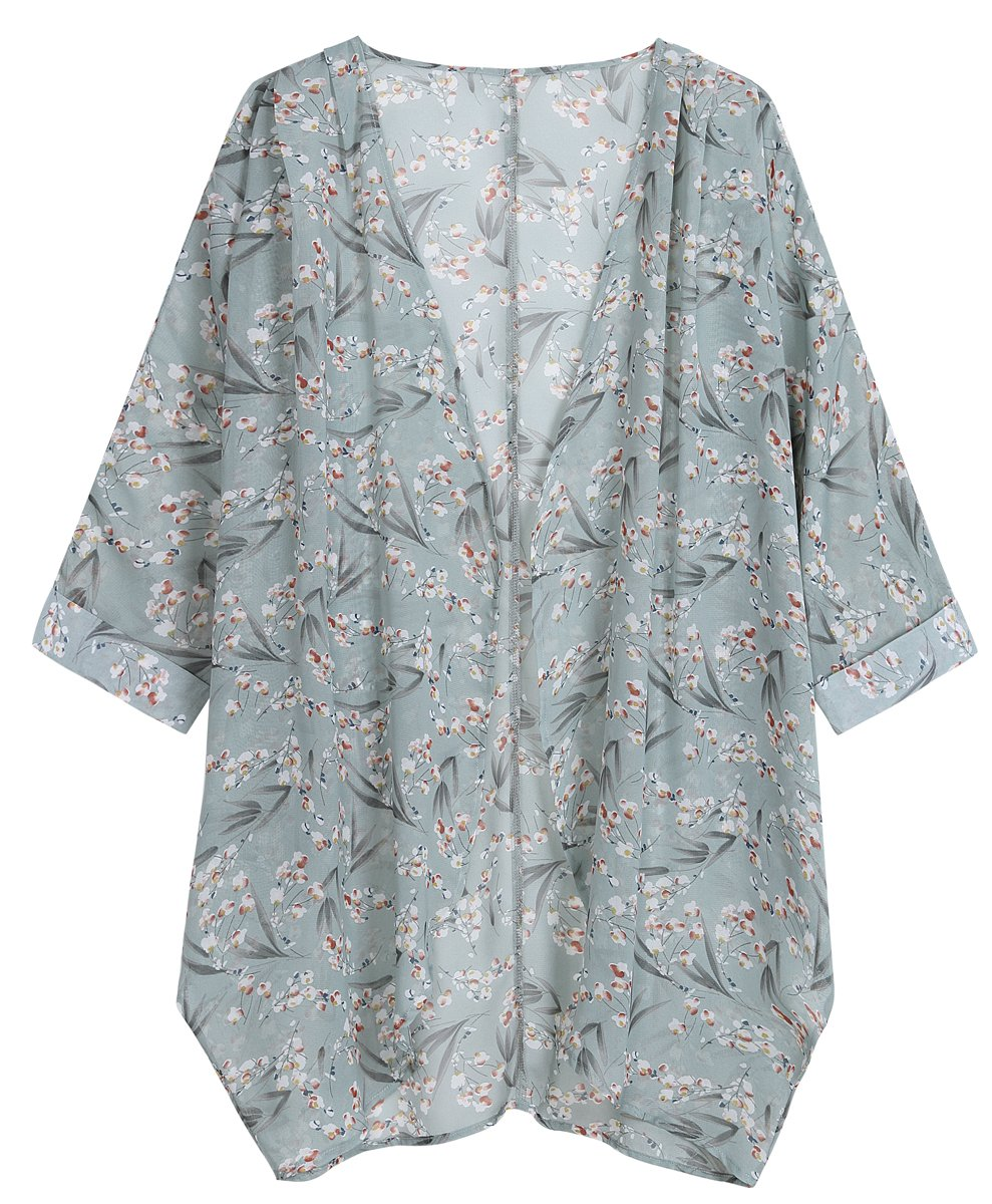 OLRAIN Women's Floral Print Sheer Chiffon Loose Kimono Cardigan Capes (Small, Bamboo Flower)