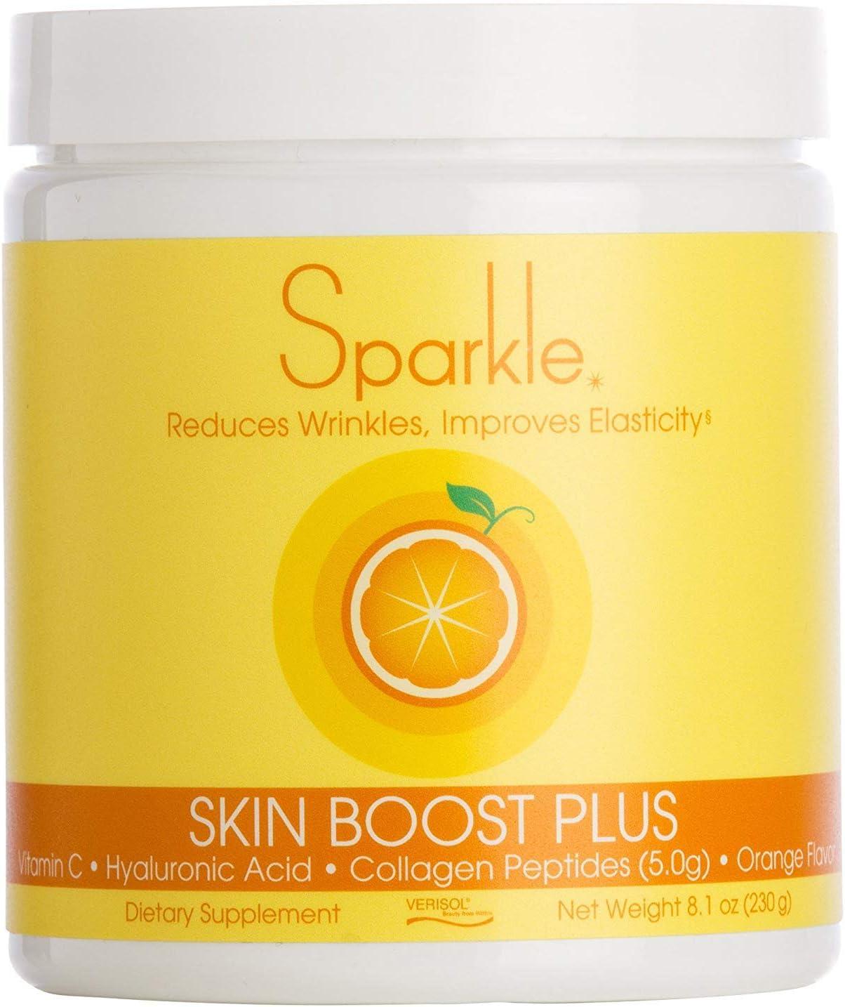 Sparkle Skin Boost Plus Verisol Collagen Peptides Protein Powder Vitamin C Orange Plus Supplement Drink, 8.1 oz