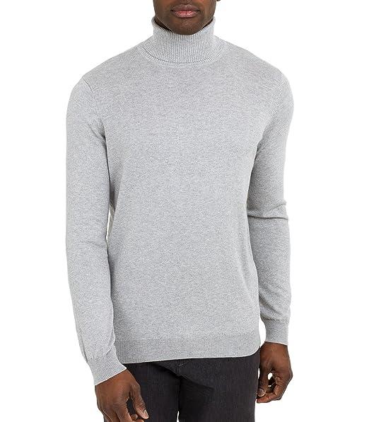 Wool Overs Rollkragenpullover aus Baumwolle-Seide für Herren Grey Marl, XXL 8467644a7c