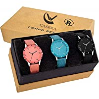 Casera Multi Color Combo Pack of 3 Wrist Watch for Girls and Woman Watch