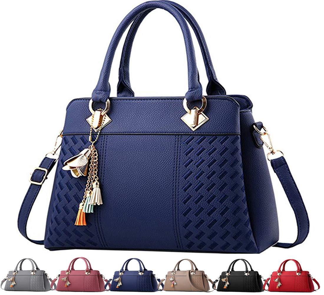 Fordicher Womens Handbags and Purses Ladies Fashion Top Handle Satchel Tote PU Leather Shoulder Bags Crossbody Bag (Blue)