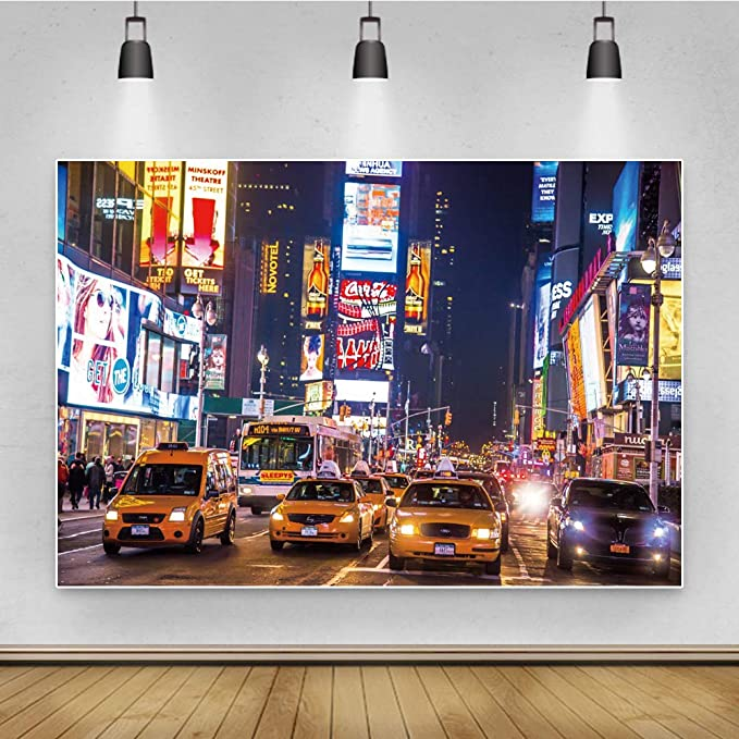 8x6.5ft New York Broadway Nightscape Polyester Photography Background Bustling Street Crowded People Various Theater Scenic Backdrop Modern Cityscape Wallpaper Tourism Shoot