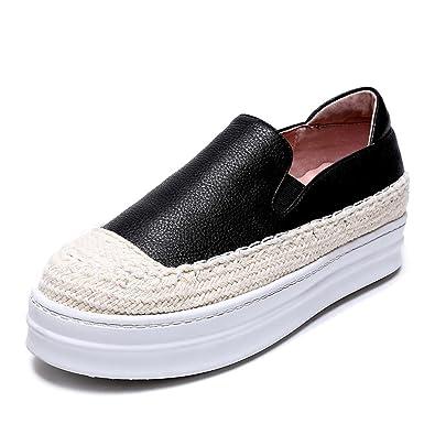 RoseG Damen Leder Handgefertigt Slipper Platform Espadrilles Freizeit Schuhe Weiß 36 UAos8MO