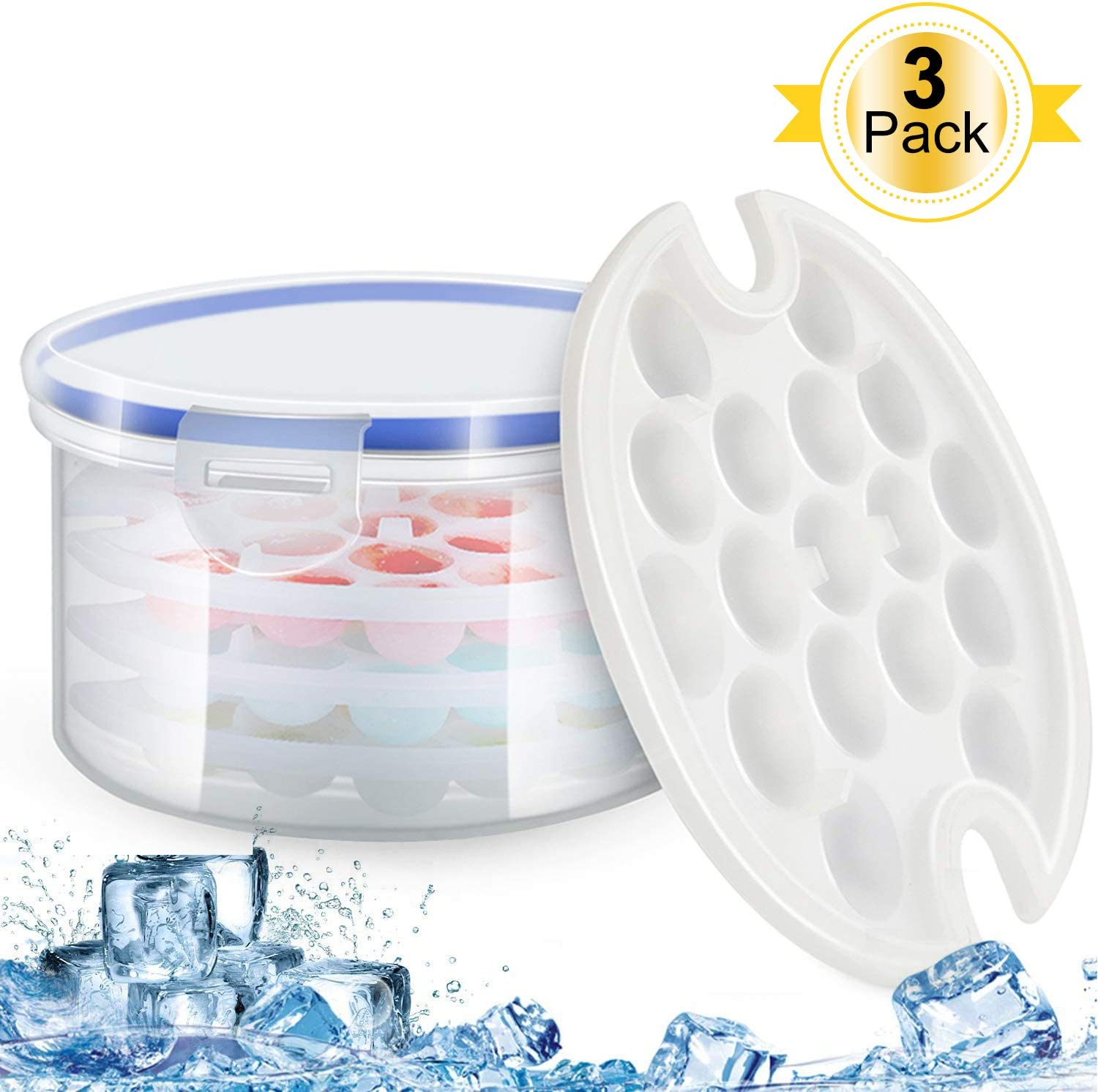 Ice Cube Tray,3 Pack 51 Ice Cubes,Ice Trays Stackable Easy Release,with Unique Spill-Resistant Clear Ice Storage Set Locking Lids,BPA Free Dishwasher Safe Mini Ice Cube Molds Ball for Freezer(White)