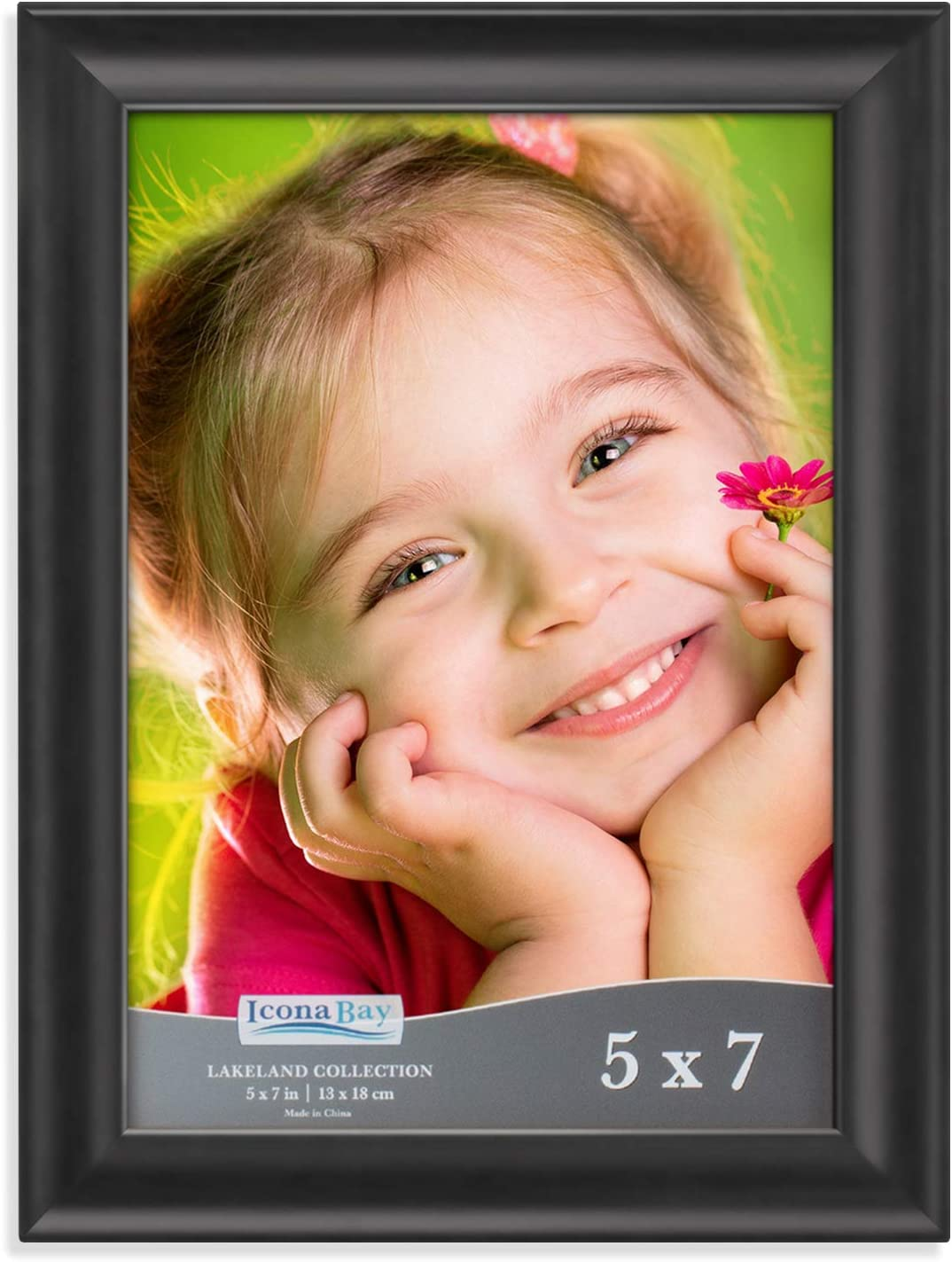 Icona Bay 5x7 Picture Frame (1 Pack, Black), Black Photo Frame 5 x 7, Composite Wood Frame for Walls or Tables, Lakeland Collection