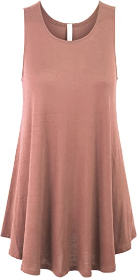 Chic Rayon Soft Casual Solid Trapeze Sleeveless Loose Fit Cami Top Tunic dress