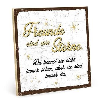 Typestoff Holzschild Mit Spruch Freunde Sind Wie Sterne Weiß Gelb