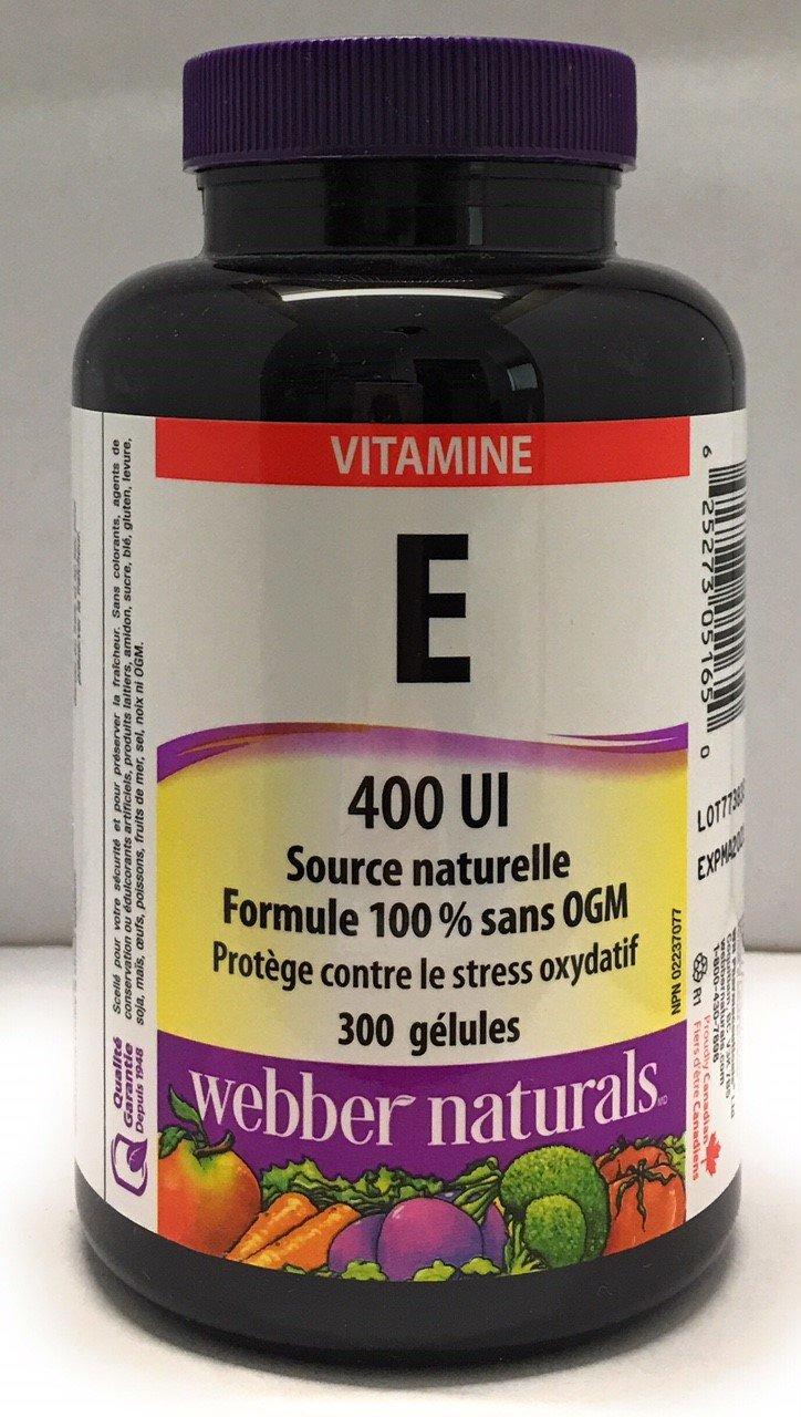 Webber Naturals Vitamin E, 400IU, 300 softgels