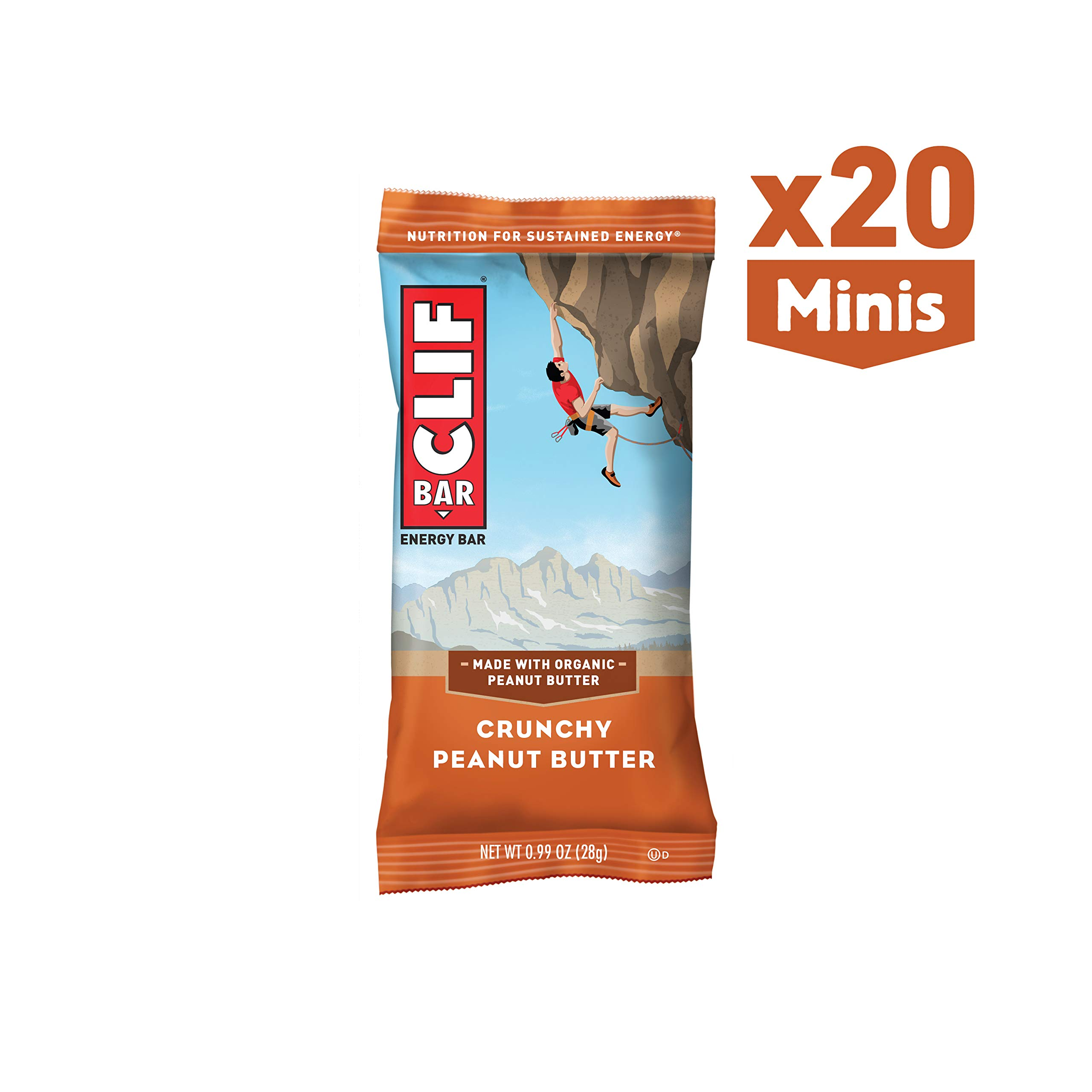 CLIF BAR - Mini Energy Bar - Crunchy Peanut Butter - (0.99 Ounce Snack Bar, 20 Count) by Clif Bar