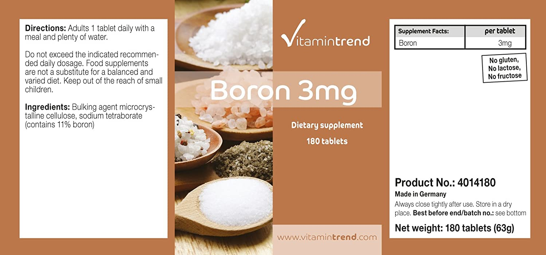 Boro 3mg - ¡Bote para 6 MESES! - vegano - sin estearato de magnesio, 180 tabletas: Amazon.es: Salud y cuidado personal