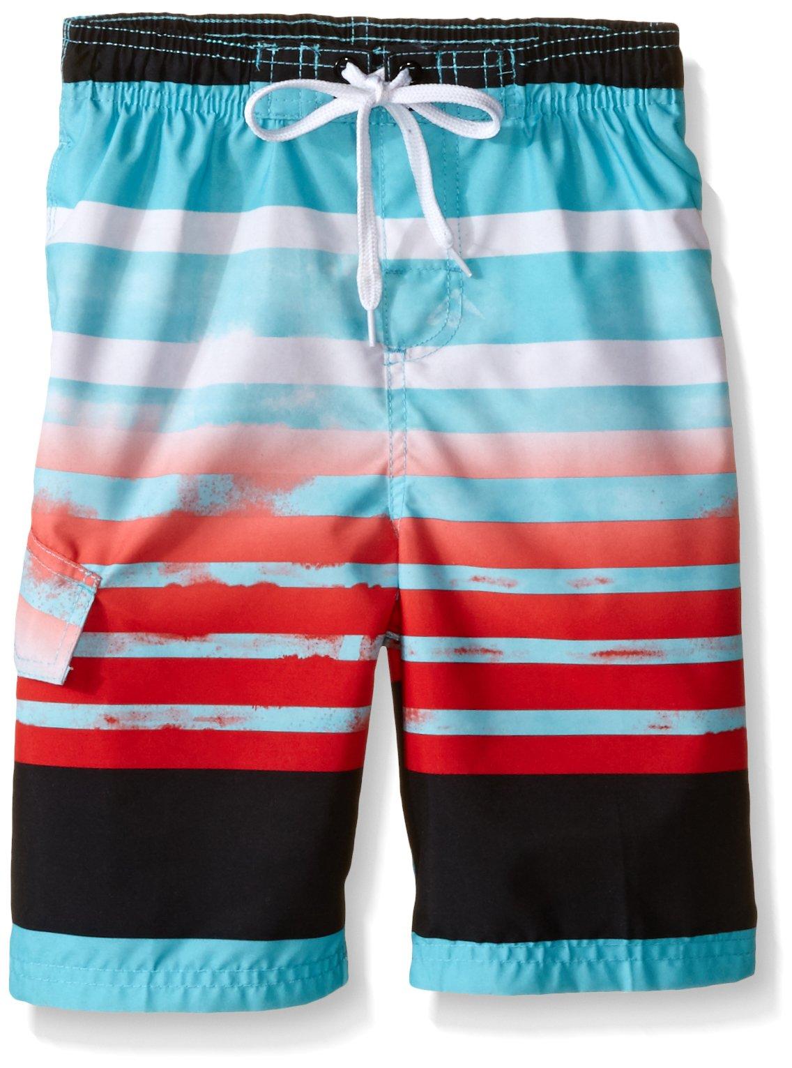 Kanu Surf Little Boys' Reflection Stripe Swim Trunk, Aqua, Medium (5/6)