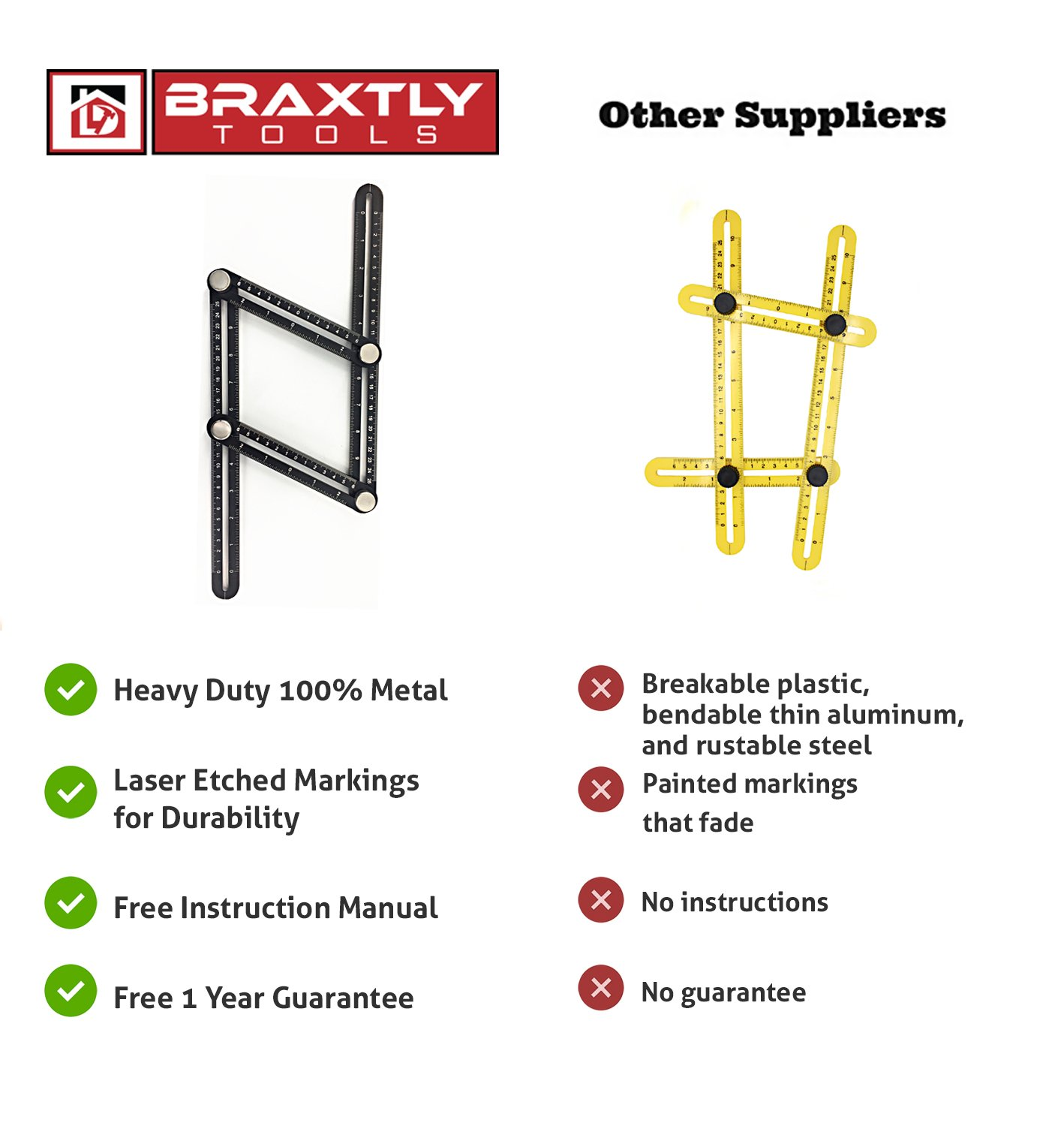 Braxtly Tools EASY ANGLE-ER HEAVY DUTY Template Tool - Ultimate Multi Angle Ruler - For Measuring Angles - Made of Premium Metal Alloy- Adjustable Knobs for Precise Measurement- w/Instruction Manual by Braxtly Tools (Image #4)