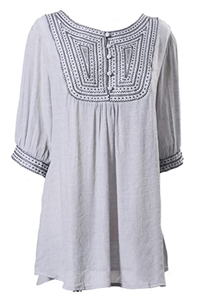 3ae14782a3d24e Asher Women Linen Shirts Embroidered Tunic Peasant Tops (One Size, Gray) at  Amazon Women's Clothing store: