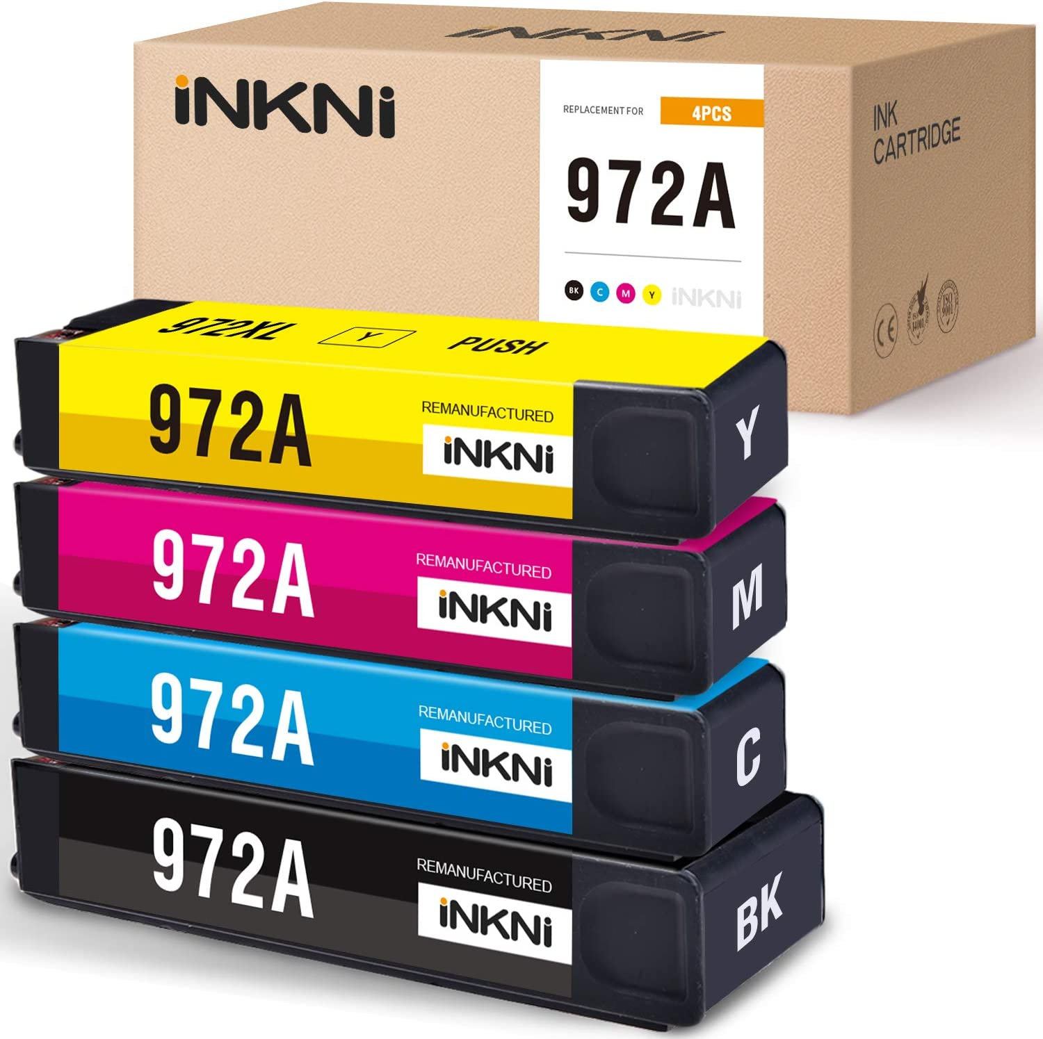 INKNI Remanufactured Ink Cartridge Replacement for HP 972A 972X for PageWide Pro MFP 577dw 477dw 577z 477dn 452dw 452dn 377dw P57750dw 552dw Printer (Black Cyan Magenta Yellow, 4-Pack)