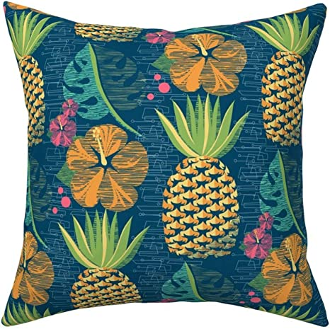 Roostery Throw Pillow Tropical Pineapple Summer Hawaiian Luau Tiki Hibiscus Beach Print Linen Cotton Canvas Knife Edge Accent Pillow 18in X 18in Optional Insert Home Kitchen