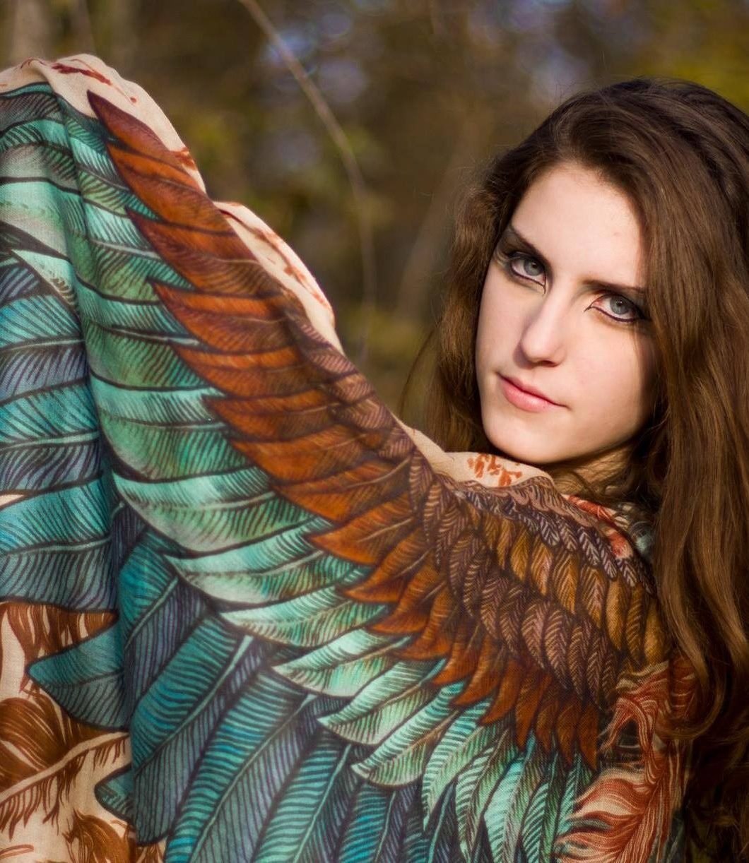 Bird Feathers Scarf, Silk & Cashmere Exotic Feathers Women's Scarf, Wrap by Shovava (Image #8)