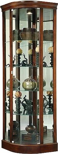Howard Miller Marlowe Corner Curio Cabinet 680-529 Hampton Cherry Glass Display Shelf Case