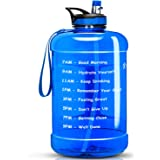 Favofit 1 Gallon Water Bottle with Time Marker, 128 oz Extra Large Motivational Water Bottle with Straw, BPA-free plastic, Re