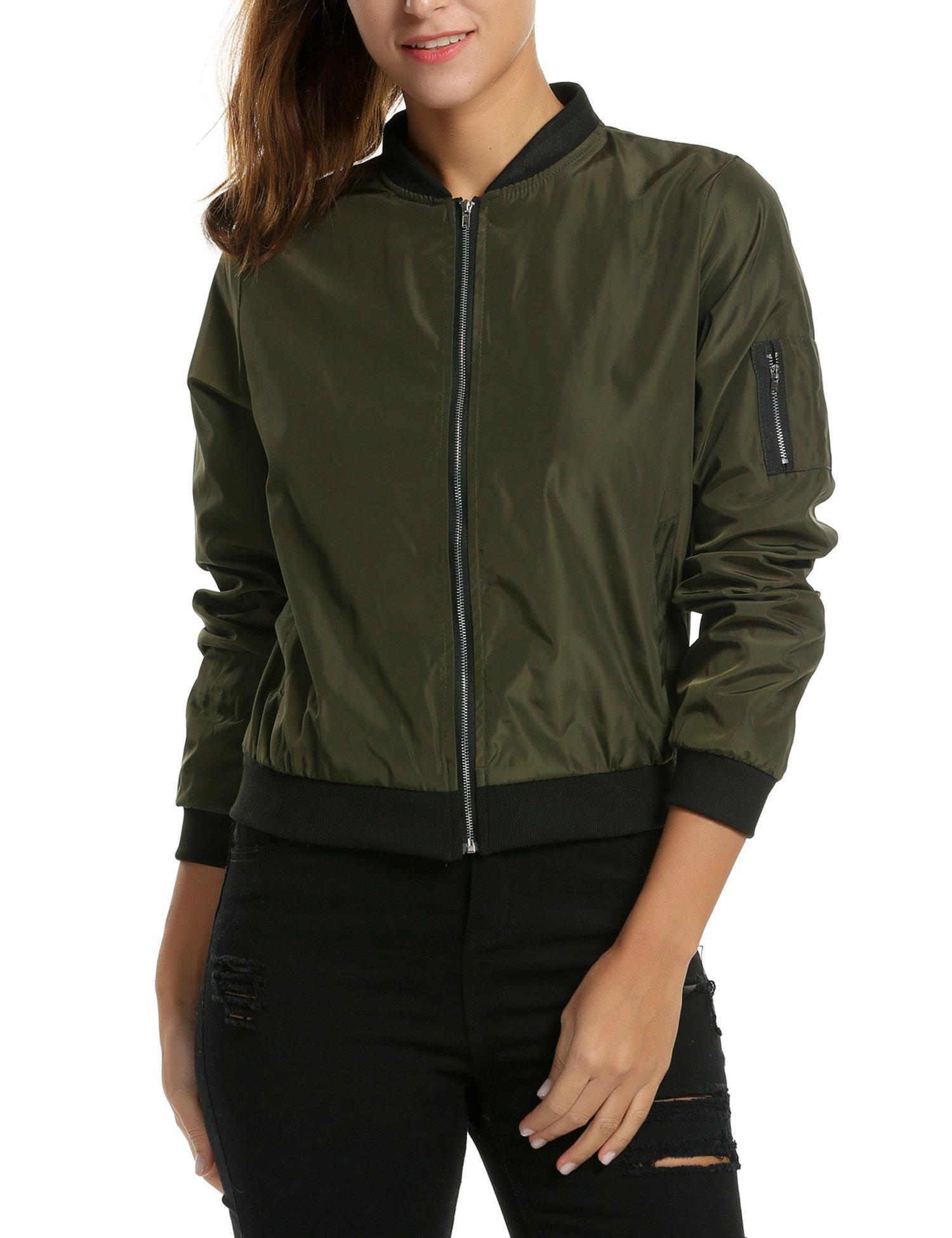 Zeagoo Womens Classic Quilted Jacket Short Bomber Jacket Coat, # Army Green, Medium, # Army Green, Medium by Zeagoo