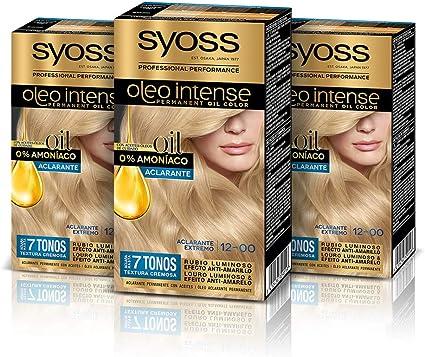 Syoss Oleo Intense - Tono 12-00 Aclarante Extremo (Pack De 3) – Coloración permanente sin amoníaco – Resultados de peluquería – Cobertura profesional ...
