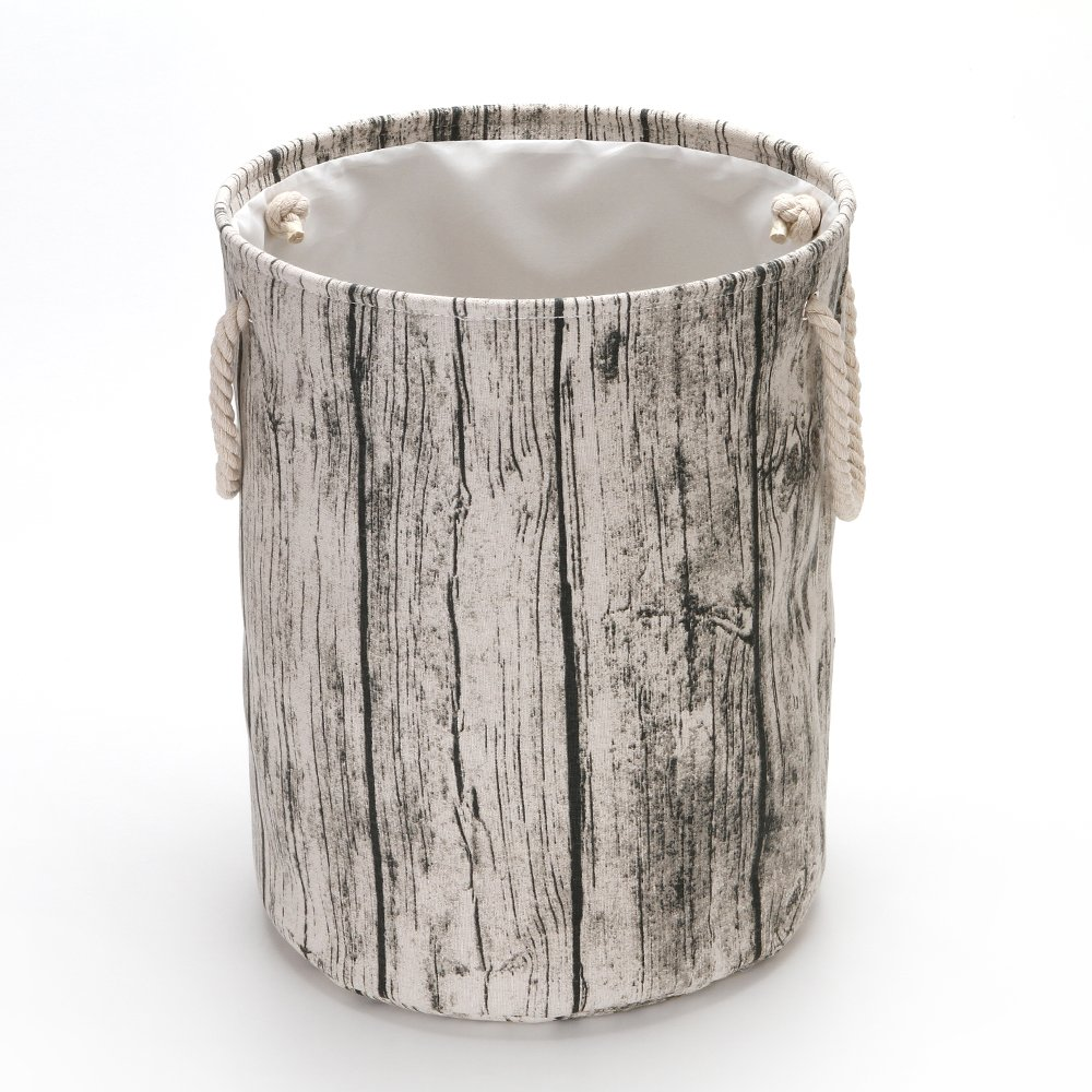 Hodleys Tree Stump Wood Grain Canvas & Linen Fabric Laundry Hamper Storage Basket with Rope Handles