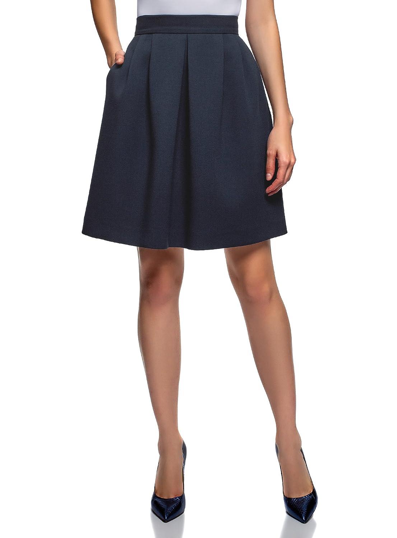 oodji Ultra Mujer Falda de Silueta en A con Cremallera
