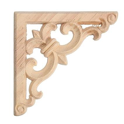Top 2pcs Holzornamente Zierelemente aus Holz Möbel Schrank Schnitzerei QU87