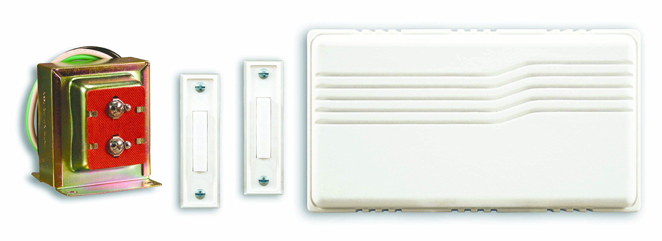 Heath Zenith 102-A Wired Door Chime Contractor Kit with Mixed Push Buttons, White