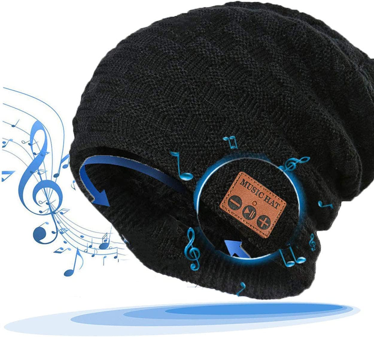 LiiFUNG 028 Wireless Bluetooth 5.0 Beanie Hat with Headphones | Great Christmas Tech Gifts for Teen Boys/Girls/Boyfriend/Him/Husband/Men/Dad/Women/ Stocking Stuffers/Built-in HD Speaker & Mic - Black