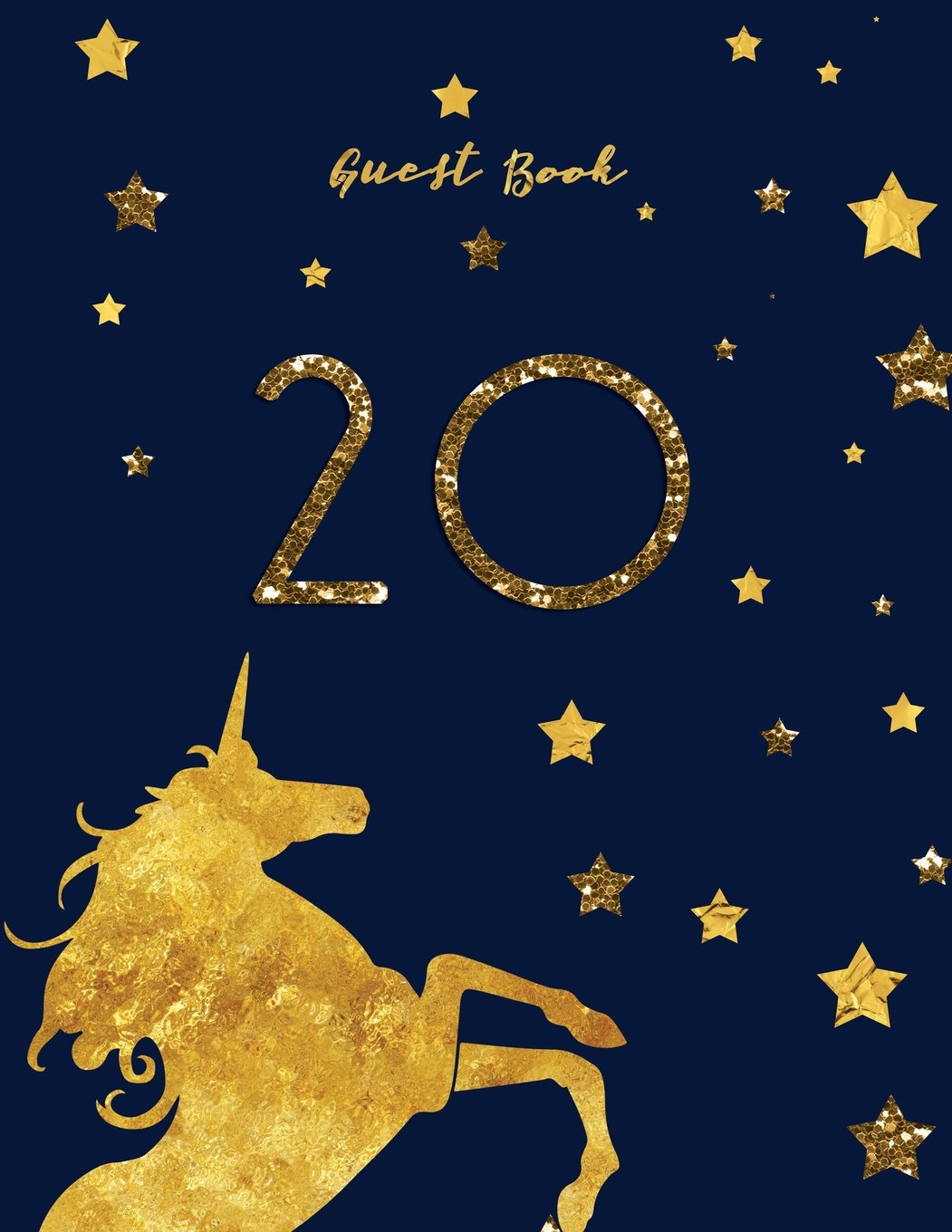 Read Online Guest Book 20: Black Navy And Gold Unicorn Birthday Guestbook pdf