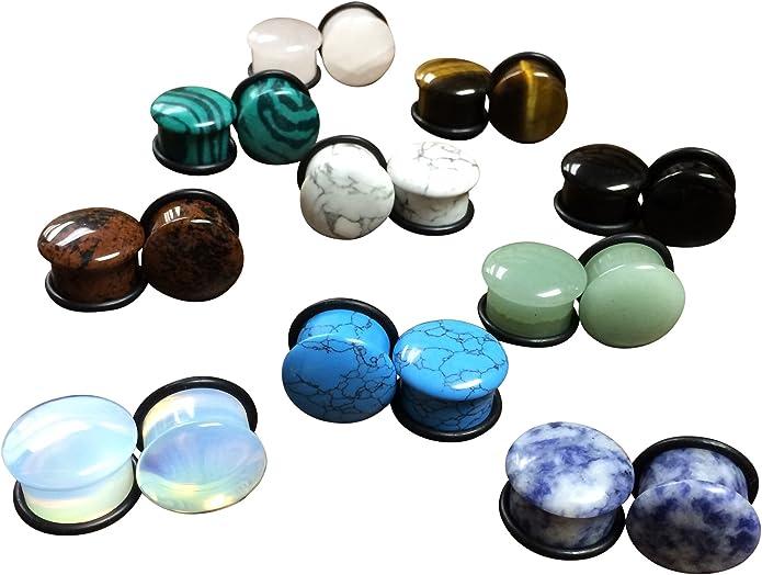 "1 Pair 1//2/"" Organic Blue Agate Stone Single Flare Plugs 12mm Ear Gauges O-rings"