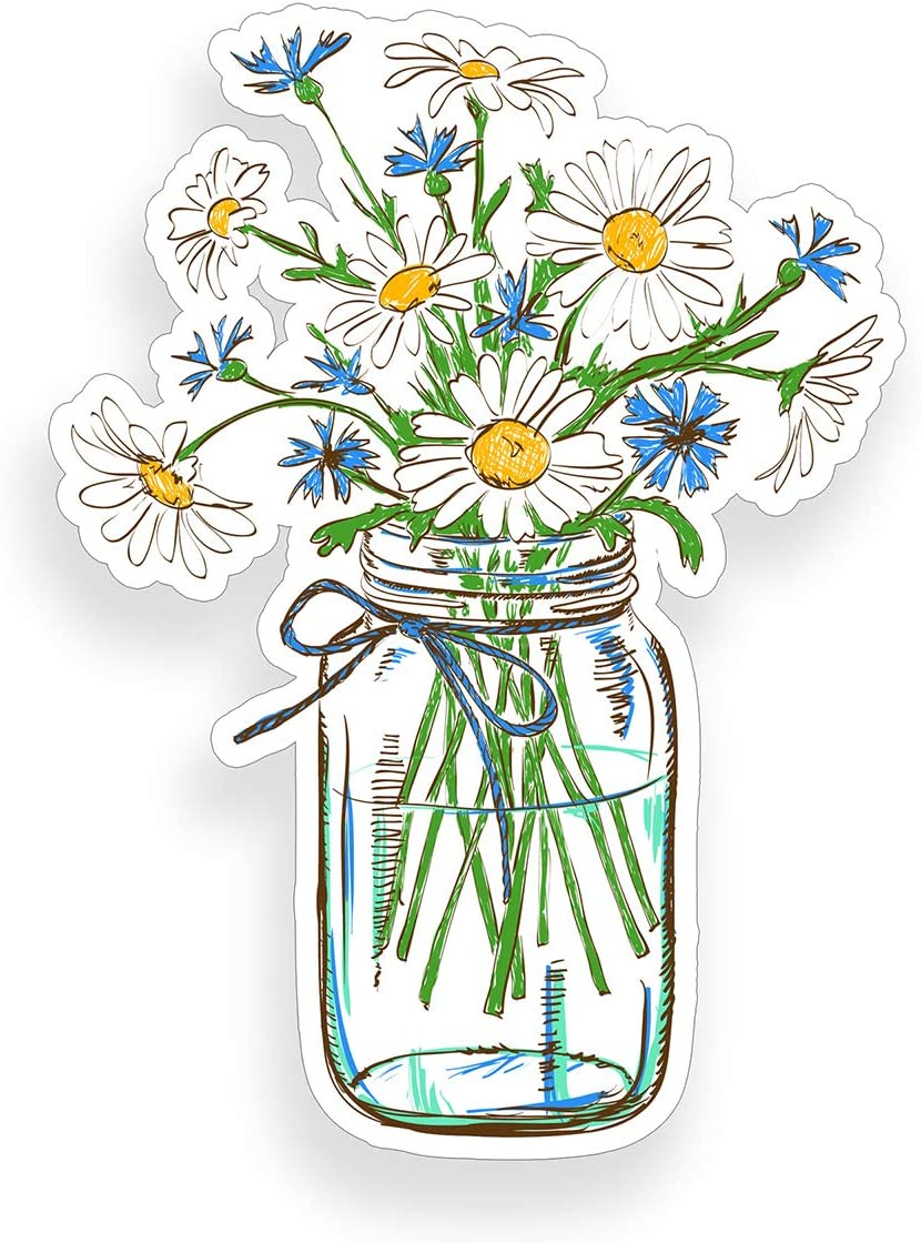 Daisy Flower in Glass Jar Sticker cup laptop car flower vinyl decal window bumper wall graphic