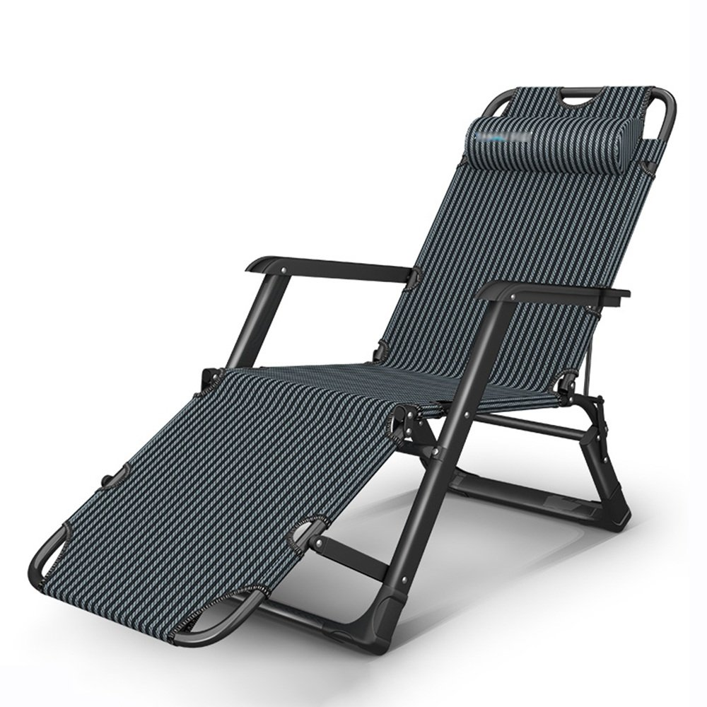 A GWDJ Lounger Deck Chairs Simple Reinforcement Backrest Folding Chair Household Office Casual Siesta Recliner Portable Reinforcement Beach Chairs Relaxer Recliner (color   D)