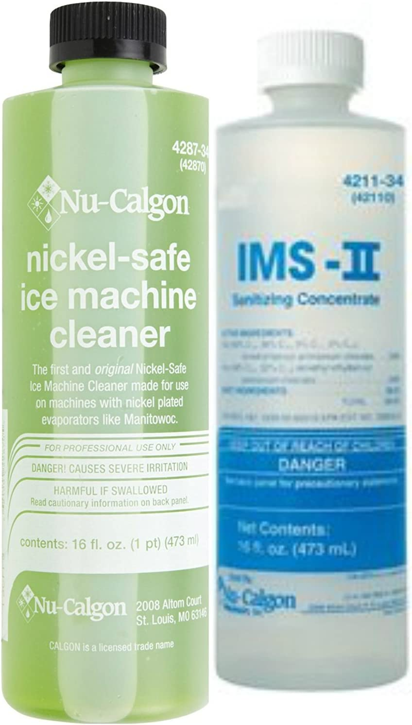 Nu-Calgon 428734 Ice Machine Cleaner 16 oz and Ice Machine Sanitizer, No Rinse, 1 Pint - Cleaning and Sanitizing Bundle
