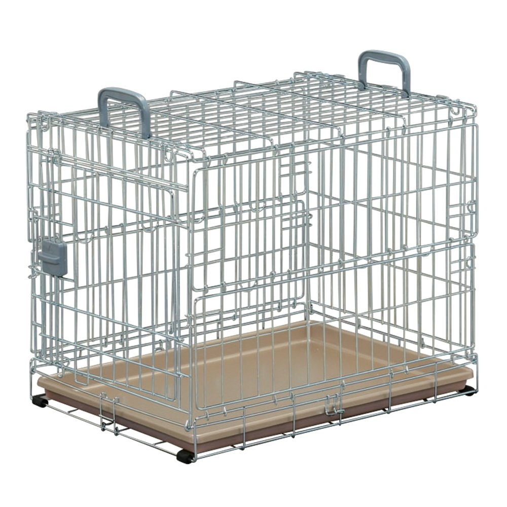 IRIS Foldable Pet Cage, Silver Brown