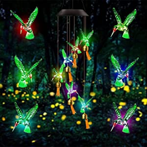 LooTeeay Wind Chimes for Outside Solar Lights Outdoor Decorative Hummingbird Garden Decor Owning 7 Color Changing Waterproof Solar Chandelier for Path Lights,Garden, Birthday Gift(Green Hummingbird)