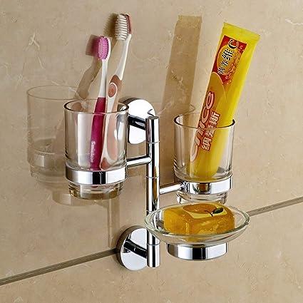 NAERFB Todo el Cobre Engrosamiento Giratorio/Porta Vasos Porta Cepillo de Dientes/Cepillo de