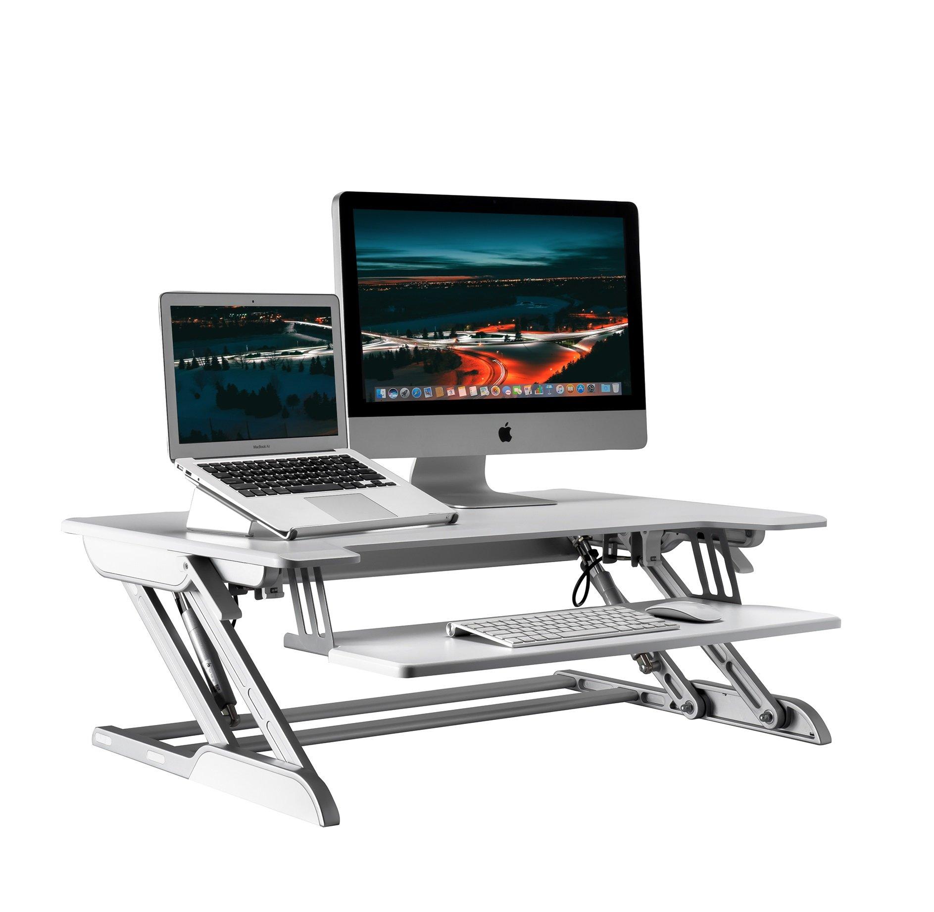 AboveTEK Height Adjustable Aluminum Standing Desk Converter, White, Smooth Air Spring, 36'' Platform Desktop Workstation for Dual Monitor Setup as Computer Riser for Instant Sit-Stand at Home & Office