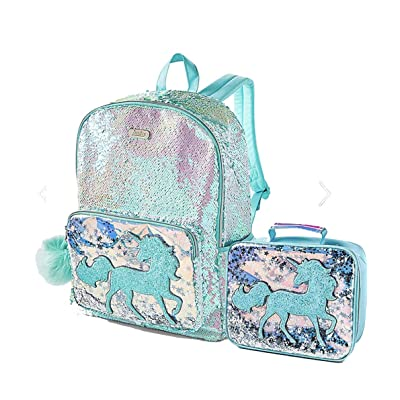 Justice Girls Blue/Silver Unicorn Flip Sequin Shaky School Backpack & Lunch Tote Bag | Kids' Backpacks