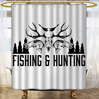 Hunting Shower Curtains Mildew Resistant And Fishing In Vintage Emblem Design Antler Horns Mallard Pine