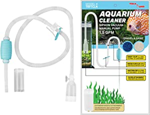 TERAPUMP Genuine Aquarium Pond Fish Tank Cleaner Long Nozzle Water Changer Flow Controller BPA Free