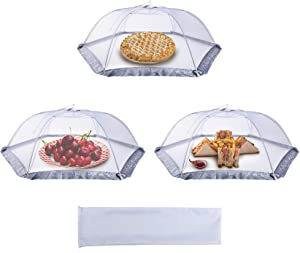 Firstake Food Cover Food Tent, Large Pop-up Mesh Food Cover Net, Picnic Food Cover Tent Umbrella, 3 Pack Plate Serving Cover for Outdoors Parties Camping Picnic BBQ, Reusable and Collapsible, 31 Inch