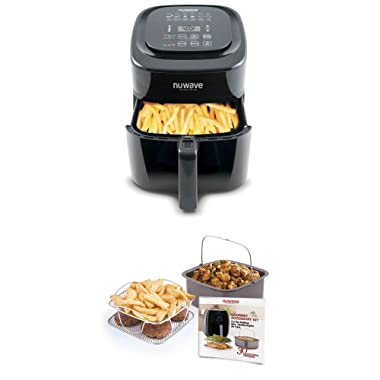 NuWave Brio 6 Quart Digital Air Fryer – Black with NuWave Brio Air Fryer 3 Piece Gourmet Accessory Kit - 6 Quart