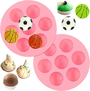 Juome 2 Pcs 7 Cavities Ball Cake Decoration Silicone Molds, Basketball/Soccer Ball Shaped Silicone Molds, Sport Balls Baking Molds for DIY Chocolate, Candy, Pudding, Jelly, Ice Cube