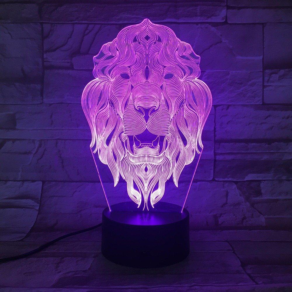 Amazon.com: 3d León Animal luz de noche 7 Cambio de color ...