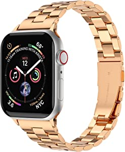 Fitlink Slim Stainless Steel Metal Band for Apple Watch 38/40/42/44mm Strap Replacement Link Bracelet Band Compatible with Apple Watch Series 6/54/3/2/1/SE(Rose Gold,42/44mm)