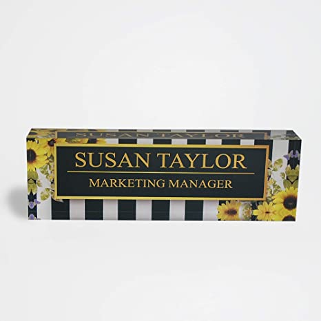 Desk Name Plate Personalized Name Title Sunflowers Design Printed On Premium Clear Acrylic Glass Block Custom Office Decor Home Accessories Desk